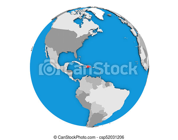 Dominican Republic on globe isolated - csp52031206