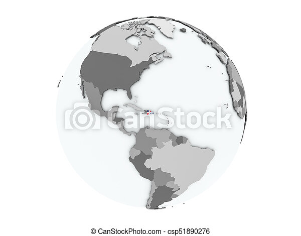 Dominican Republic on globe isolated - csp51890276