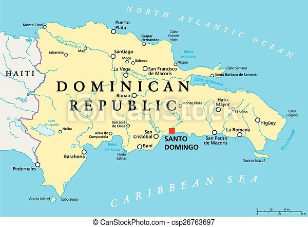 Dominican republic political map with capital santo domingo, with ...