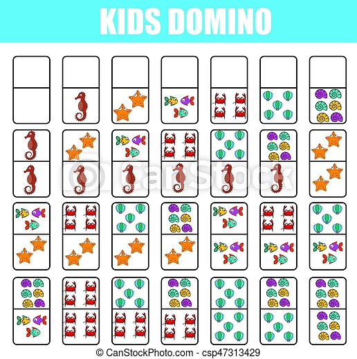 photo relating to Board Game Printable titled Domino for small children. Little ones informative video game. Printable video game, board activity