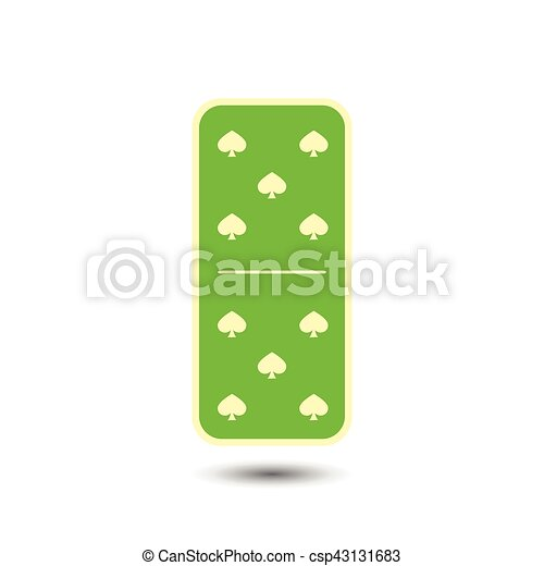 Domino spade. five and on isolated background. Domino ...