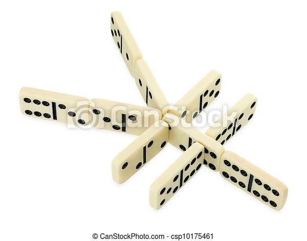 Dominoes In Shape Of Yen Currency Symbol Isolated On White Background