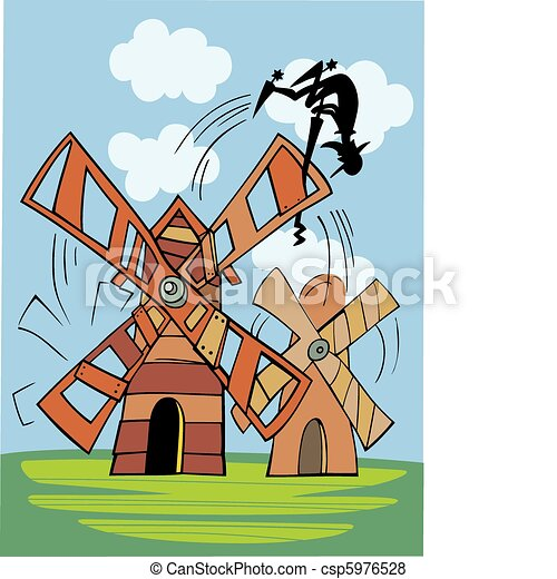 Don Quixote and wind mill - csp5976528