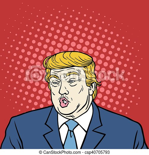 donald, caricature, art, atout, pop - csp40705793