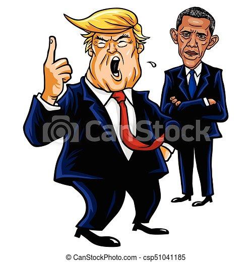 Donald Trump and Barack Obama. Cartoon Caricature Vector Illustration Drawing. September 28, 2017 - csp51041185