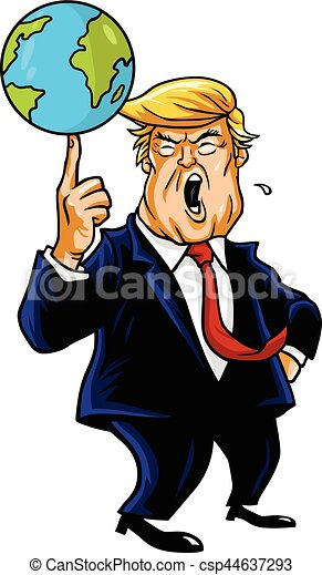 Donald Trump Cartoon Playing Globe. Vector Caricature Illustration Portrait. February 13, 2017 - csp44637293