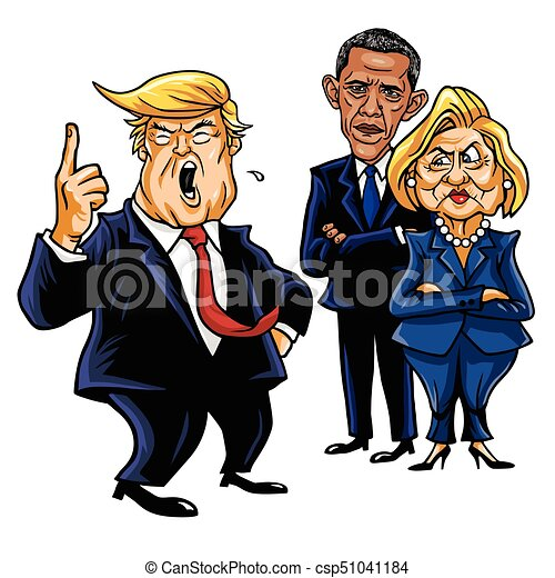 Donald Trump, Hillary Clinton, and Barack Obama. Cartoon Caricature Vector Illustration. September 28, 2017 - csp51041184