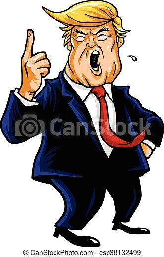 donald trump shouting you re fired cartoon caricature eps vectors rh canstockphoto com donald trump and hillary clinton clipart Donald Trump Cartoon
