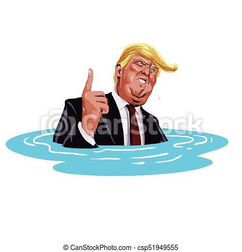 Donald Trump Sinking. Vector Cartoon Caricature Illustration. October 30, 2017 - csp51949555