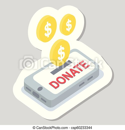 Donate buttons set. Help icon donation - csp60233344