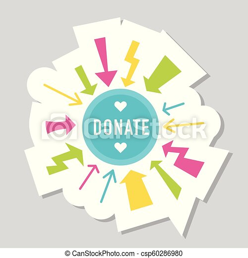 Donate buttons set. Help icon donation - csp60286980