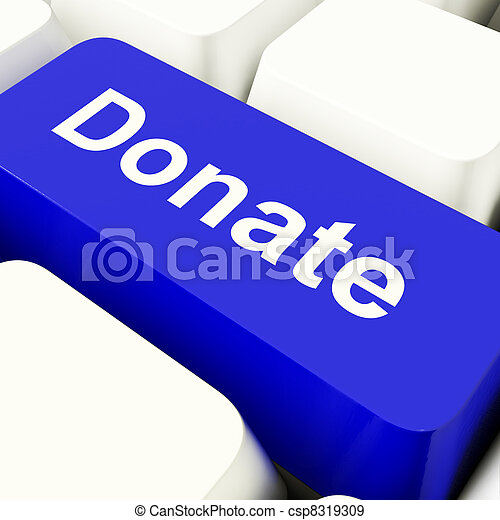 Donate Computer Key In Blue Showing Charity And Fundraising - csp8319309