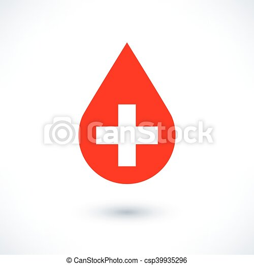 Donate drop blood red sign with white cross - csp39935296