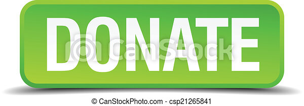 Donate green 3d realistic square isolated button - csp21265841