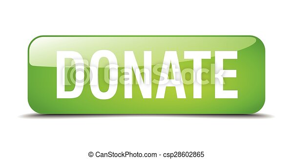 donate green square 3d realistic isolated web button - csp28602865