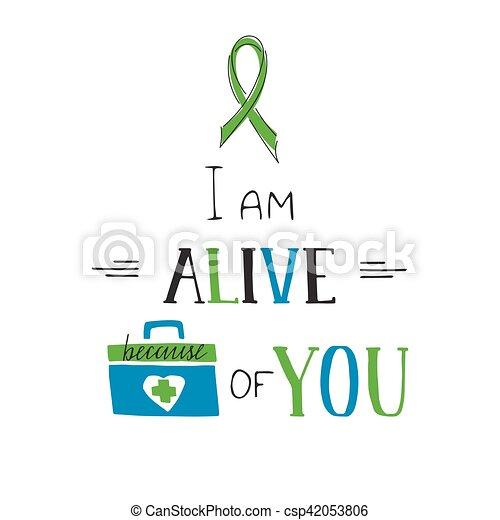 Donate Life awareness lettering - csp42053806