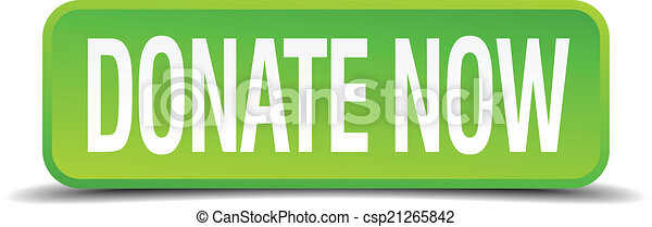 donate now green 3d realistic square isolated button - csp21265842
