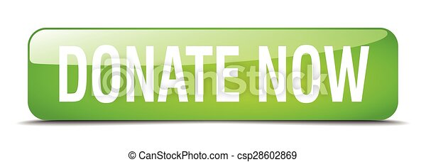 donate now green square 3d realistic isolated web button - csp28602869