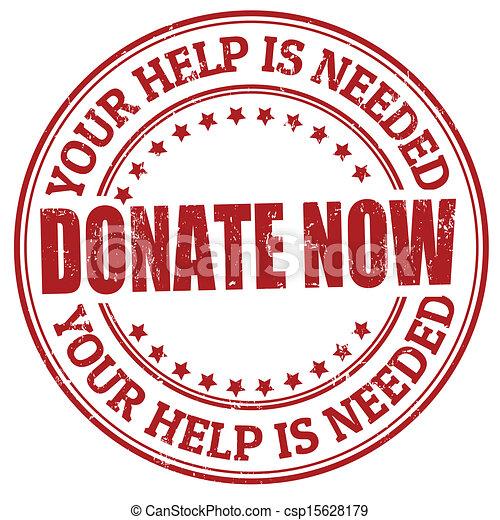 Donate now stamp - csp15628179