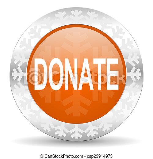 donate orange icon, christmas button - csp23914973