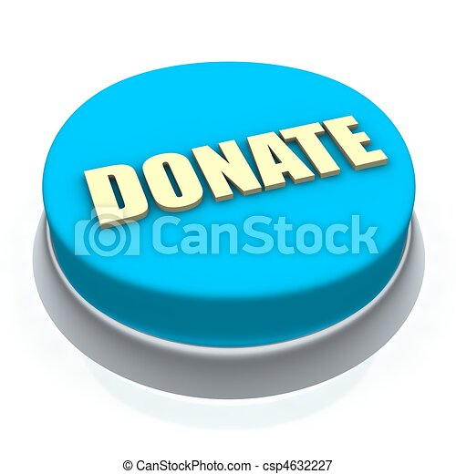 Donate round button 3d. Isolated on white. - csp4632227