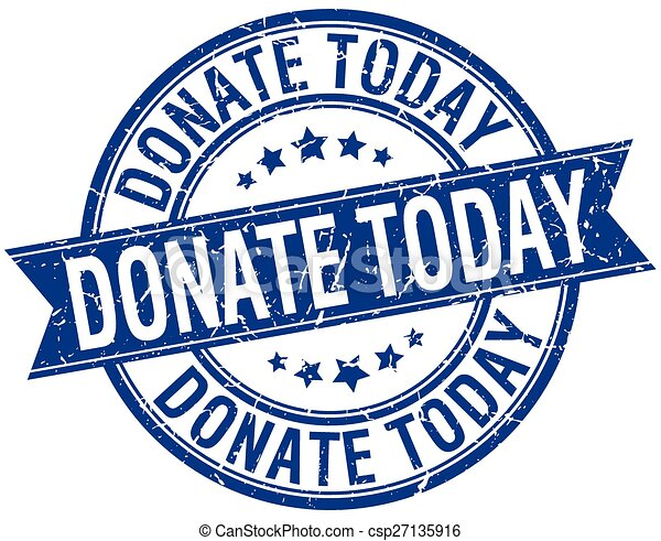 donate today grunge retro blue isolated ribbon stamp - csp27135916