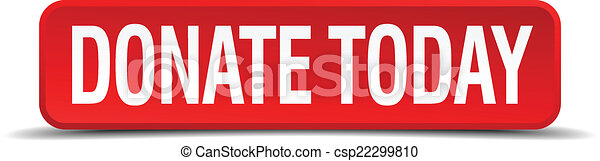 donate today red 3d square button isolated on white background - csp22299810