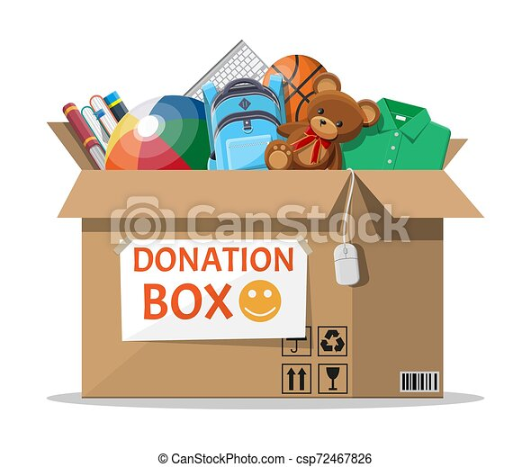 Donation box full of toys, books, clothes, devices - csp72467826