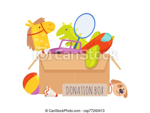 Donation box. Voluntary help children, isolated box with toys. Charity vector illustration - csp77240413
