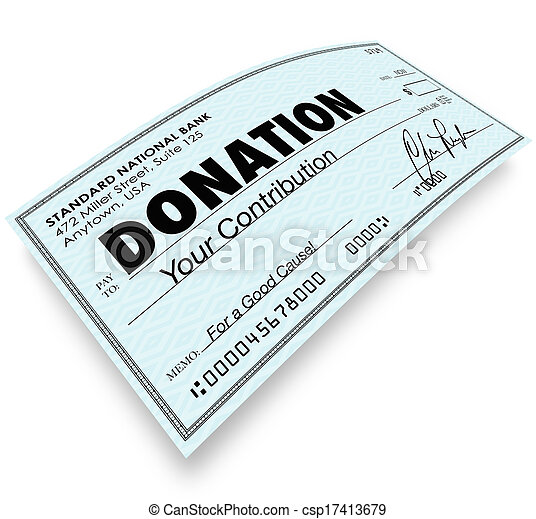 Donation Check Word Money Gift Contribution - csp17413679