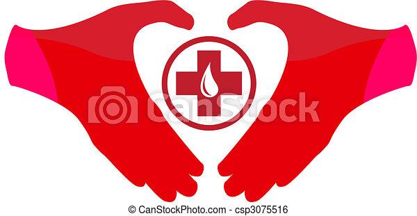 donation, emblème, sanguine, gabarit - csp3075516