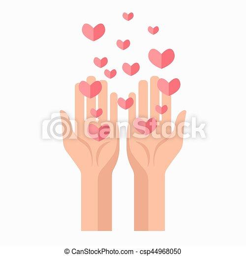 donation, vecteur, sanguine, gabarit, mains, cœurs, charité, icône - csp44968050
