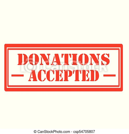 Donations Accepted-stamp - csp54705807