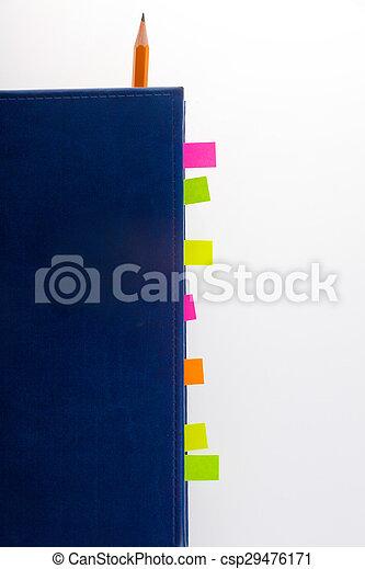 donker blauw, bookmarks, aantekenboekje - csp29476171