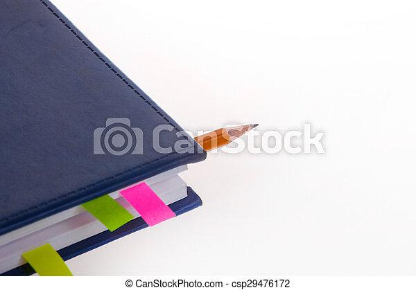 donker blauw, bookmarks, aantekenboekje - csp29476172