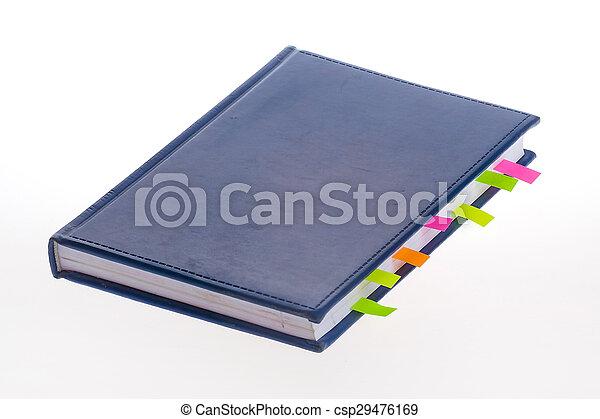 donker blauw, bookmarks, aantekenboekje - csp29476169