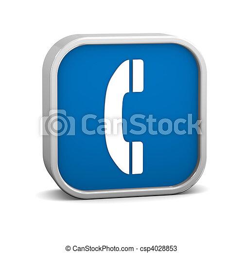 donker blauw, telefoon, meldingsbord - csp4028853