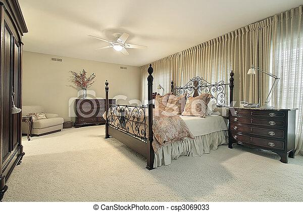 Hout Slaapkamer Meubels : Donker meubel hout meester slaapkamer condominium donker