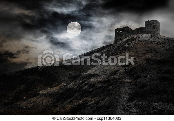 donker, nacht, burcht, maan - csp11364083