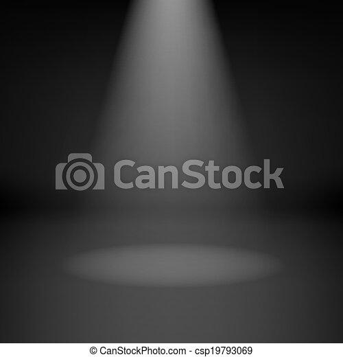 donkere kamer, lege, schijnwerper - csp19793069