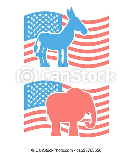 Donkey And Elephant Symbols Of Political Parties In America