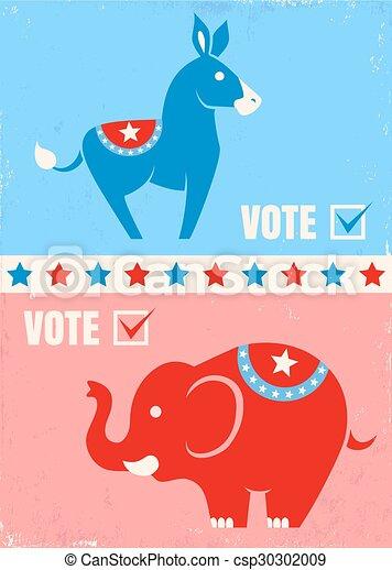 Vector Illustration Donkey And Elephant United States Political
