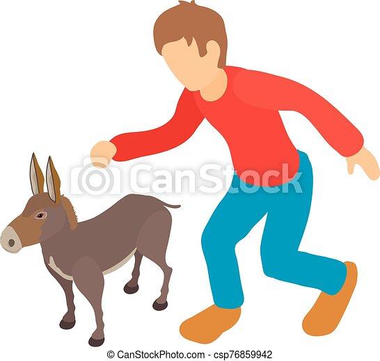 Donkey breeding icon, isometric style - csp76859942