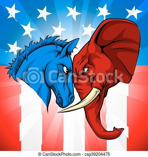 Donkey Elephant American Election Concept - csp39204475