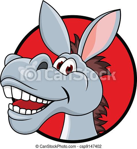 Donkey head cartoon - csp9147402