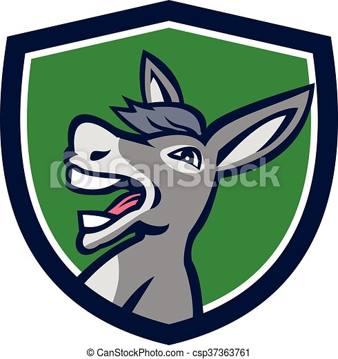 Donkey Head Shouting Crest Retro - csp37363761