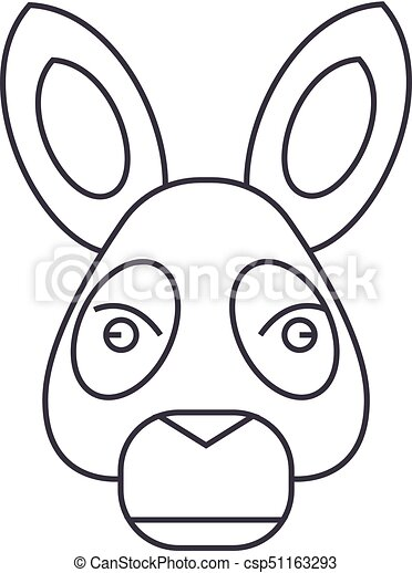 donkey head vector line icon, sign, illustration on background, editable strokes - csp51163293
