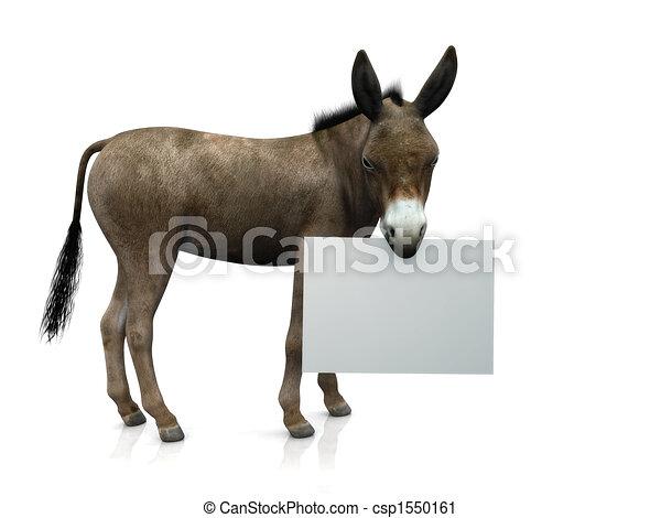 Donkey holding sign - csp1550161