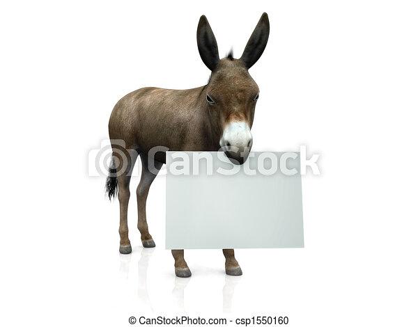 Donkey holding sign - csp1550160