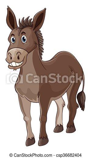 Donkey with happy face - csp36682404